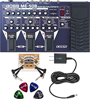 BOSS ME-50B Bass Multi-Effects with Built-In Expression Pedal Bundle with Blucoil Slim 9V Power Supply AC Adapter, 2-Pack of Pedal Patch Cables, and 4-Pack of Celluloid Guitar Picks