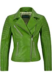 Ladies Brando Perfecto Jacket Gold Bikers Punk Tops Genuine Leather Jacket MBF
