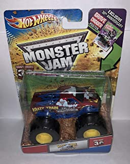 2012 HOT WHEELS GRAVE DIGGER 30TH ANNIVERSARY 1:64 KRAZY TRAIN MONSTER JAM TRUCK WITH EXCLUSIVE 30TH ANNV. GRAVE DIGGER POSTER