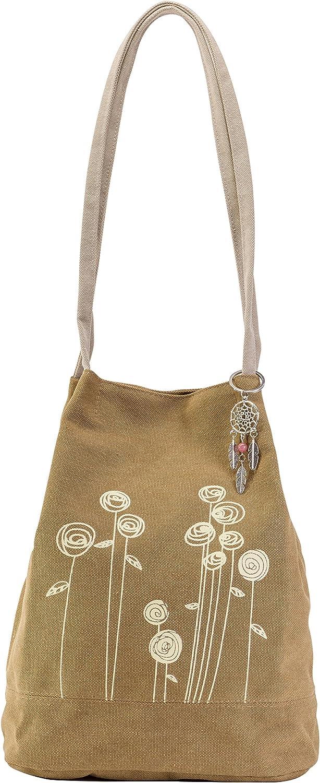 Cute Boho Purse Bag  Bohemian Style Flower Hippie Handbag  Small Brown Gypsy Canvas Tote