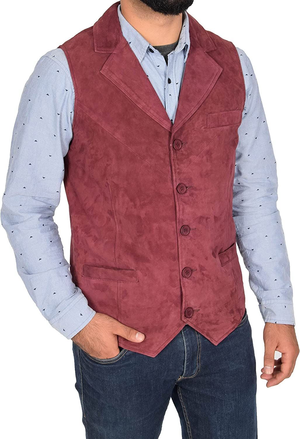 Mens Real Suede Traditional Style Classic Waistcoat Gilet Vest Devin Red