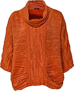 Grizas Women's Linen & Silk Cowl Neck Top Orange
