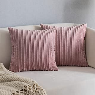 Kevin Textile Decoration Pillow Covers Solid Red Soft Striped Velvet Corduroy Plush Throw Cushion Cover for Square Pillows...