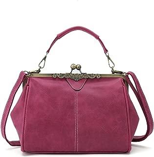 Vintage Handbags Kiss Lock Cross Body Purses Shoulder Messenger Tote Bags for Women PU Leather