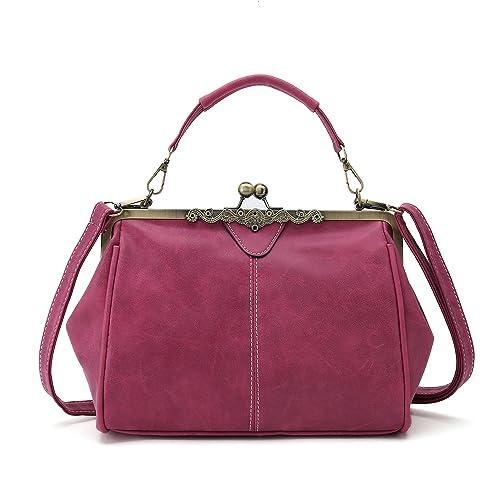 1d32a450f Vintage Handbags Kiss Lock Cross Body Purses Shoulder Messenger Tote Bags  for Women PU Leather