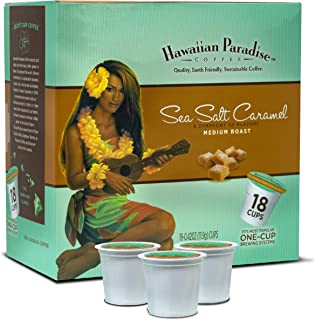 Hawaiian Paradise Coffee Sea Salt Chocolate Caramel {18 K Cups} Medium Sweet Aromatically Flavored   World Class Premium Grounds Gourmet   Made From The Finest Beans Farm Fresh Earth Friendly Keurig Coffee