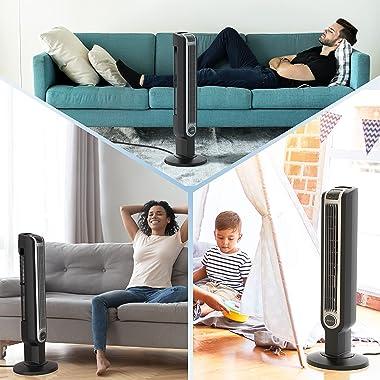 "Lasko 2511 36"" Oscillating 3-Speed Tower Remote Control Household Fans, 36 Inch, Black"