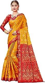 Sarees Women Banarasi Art Silk Woven Saree l Indian Wedding Gift Sari Unstitched Blouse