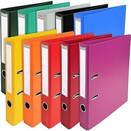 Exacompta - Réf. 53054E - Carton de 10 Classeurs à levier A4 Prem'Touch - Dos de 50 mm - Mécanique 55 mm- Dimensions extérieures : 32 x 29 x 5 cm - Format à classer A4 - 10 couleurs vives assorties