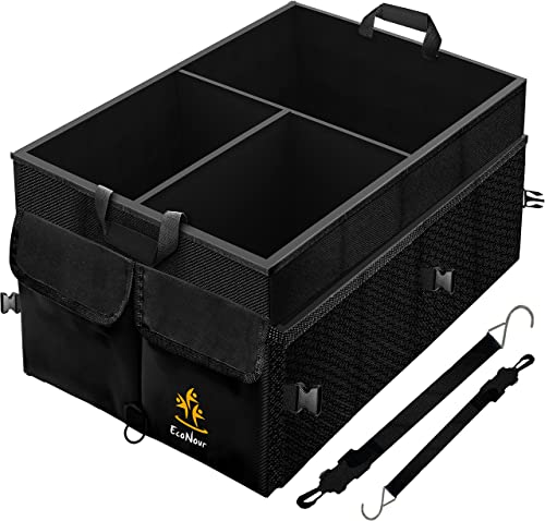 2021 EcoNour Trunk popular Organizer with Detachable Dividers | Tough and Sturdy Trunk Organizers and Storage SUV with Straps | online Foldable Automotive Consoles & Organizers with Non-Slip Bottom & Multiple Lid Pockets sale