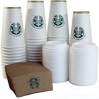 كوب أبيض للمشروبات الساخنة للاستعمال مرة واحدة من ستارباكس، 473 مل، أكمام وأغطية (عبوة من 50 قطعة)