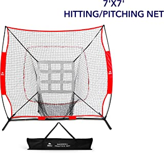 7' x 7' Baseball Softball Practice Net by Day 1 Sports - Hitting, Pitching, Batting, & Fielding - Premium Training Equipment & Accessories - Portable & Lightweight - Carrying Bag