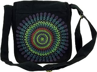Noir Coton Sacs /à Bandouli/ère Guru-Shop Sac /à Bandouli/ère sac Hippie Mixte Adulte 25x25x7 cm