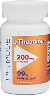 LiftMode L-Theanine 200mg 70 Capsules | #1 Value for Money #Top Amino Acid Supplement | for Focus, Stress Relief, Weight L...