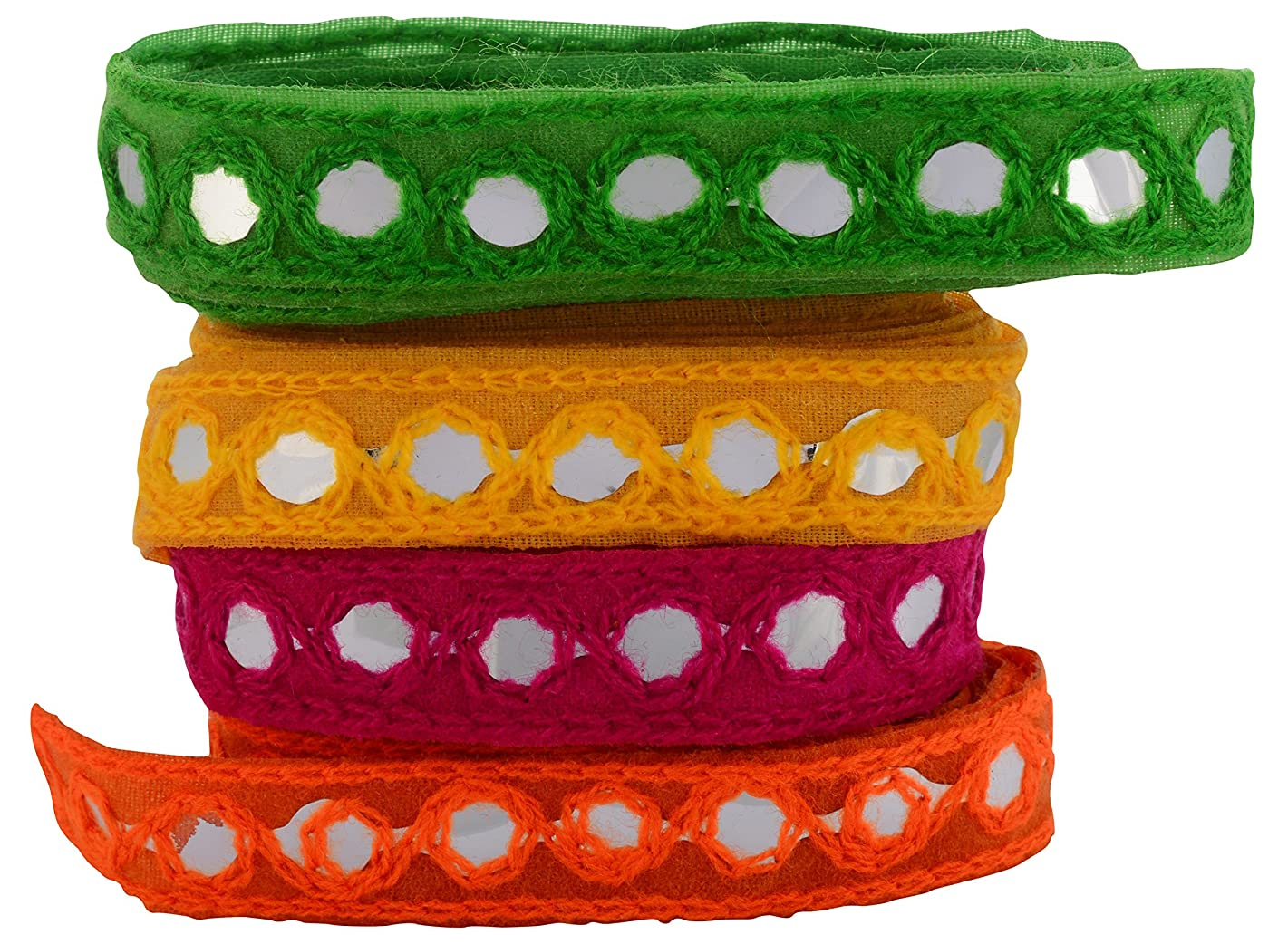 GOELX Fashion Mirror Laces in Different Colors for Decorations-Apparels-Borders- Crafts, Any Many More. Pack of 4 Yards