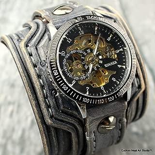 Steampunk Leather Wrist Watch, Leather Watch, Skeleton watch, Leather Cuff Watch, Bracelet Watch, Leather watch band, Gray leather watch