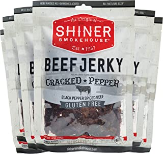 Shiner Smokehouse All Natural Beef Jerky | Cracked Pepper Flavor 6 Pack | Unique Flavors | 6ct, 4oz bags