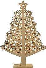 WeRChristmas Pre-Lit Star Christmas Tree Table Decoration, Wood, 50 cm - White