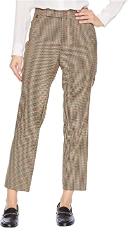Windowpane Cotton Blend Pants