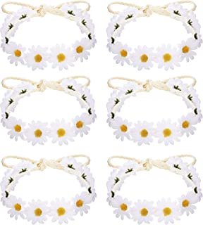 Milacolato 6-12Pcs Handmade Daisies Sunflower Headband Boho Floral Wreath Bridal Headpiece for 60s 70s Dressing Hippie Party Festivals Hair Accessories