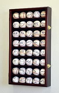 40 Baseball Display Case Cabinet Holder Wall Rack w/ UV Protection -Cherry