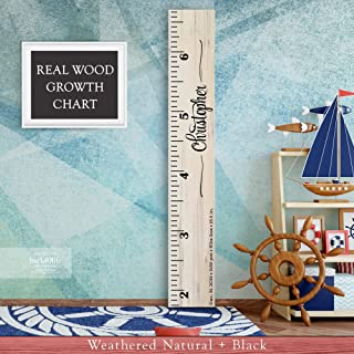 Wooden Kids Growth Height Chart Ruler for Boys and Girls Painted (The Christopher) by Back40Life - Express Edition