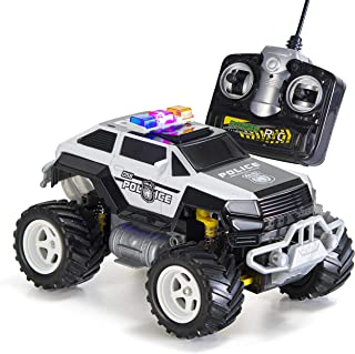 Prextex Remote Control Monster Police Truck Radio Control Police Car Toys for Boys Rc Car with Lights for 3+ Year Old Boys
