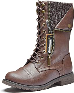 DailyShoes Women`s Military Lace Up Buckle Combat Boots Mid Knee High Exclusive Quilted Credit Card Pocket