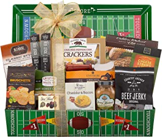 Football Lover Gift Basket by Wine Country Gift Baskets Reusable Football Themed Serving Tray Country Archer Beef Jerky Cheddar & Bacon Cheese Spread Dipping Sauces & more Tailgate Ready