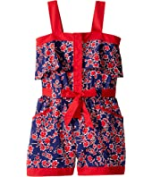 Oscar de la Renta Childrenswear - Graphic Floral Cotton Romper (Toddler/Little Kids/Big Kids)