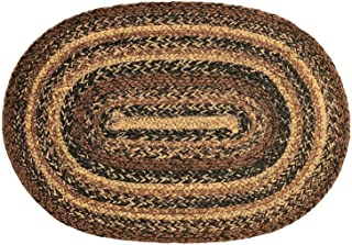 IHF Home Decor Cappuccino | Braided Area Rug Handwoven Reversible Oval Carpet for Livingroom Bedroom Porch Dormitory Home Decorative Rugs | 100% Natural Jute Durable Floormat - Diameter 5' x 8'
