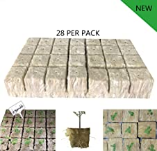 1.5 inches Rockwool Cubes Stonewool Seed Starter Plugs Hydroponics Growing Medium Soil Culture Grow Cubes Starter Sheets of Cutting Cloning Plant Propagation(28 Per Pack)