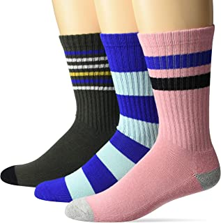 Amazon Brand - Goodthreads Men's 3-Pack Striped Ribbed Crew Sock