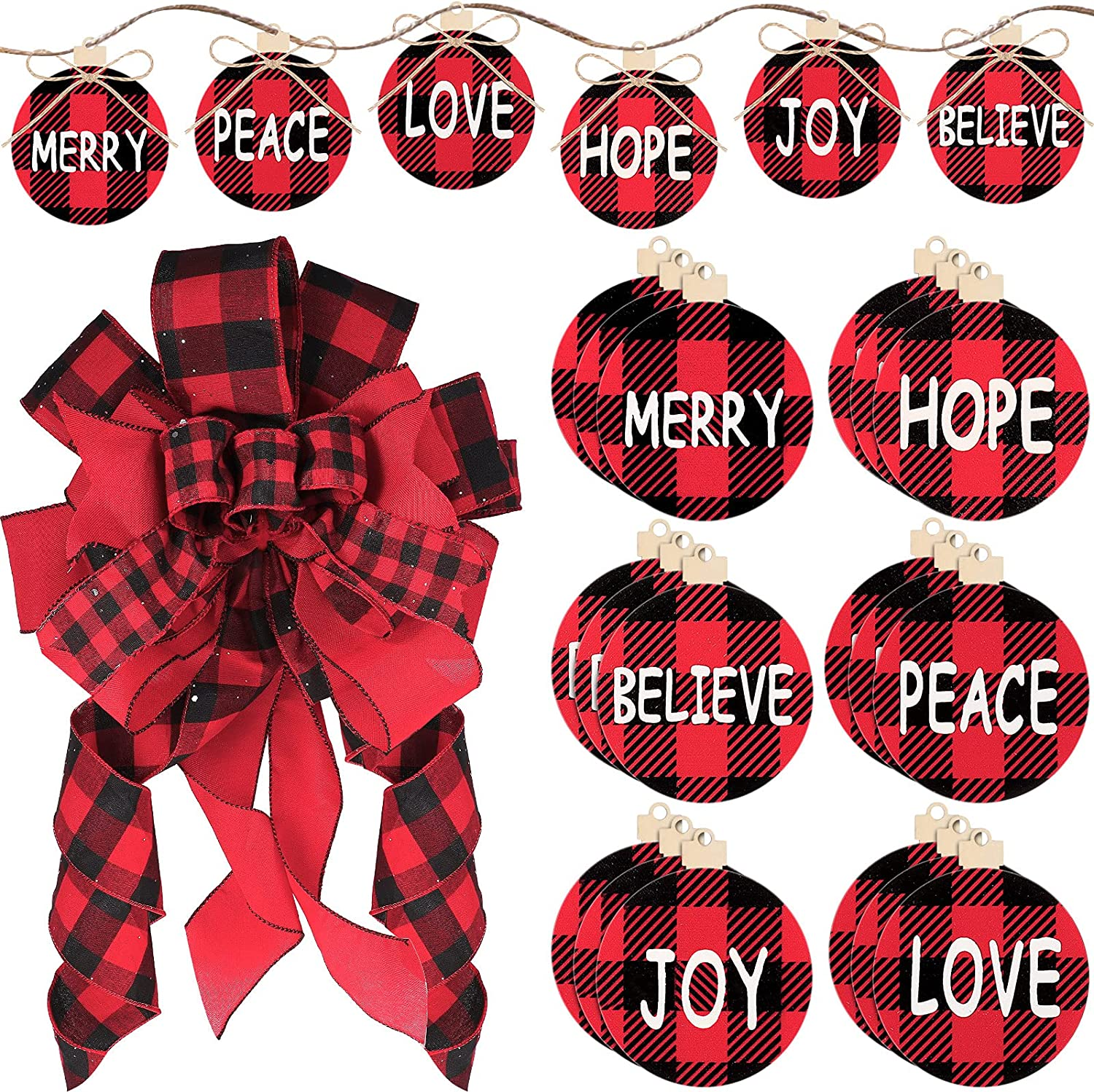 Christmas Bow Trust It is very popular Tree Topper Black Plaid Red