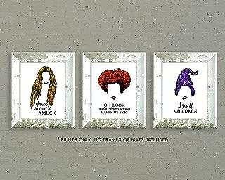 Sanderson Sisters - Hocus Pocus Halloween Art Prints - Set of Three 8x10 Inch Prints Unframed - Halloween Decorations