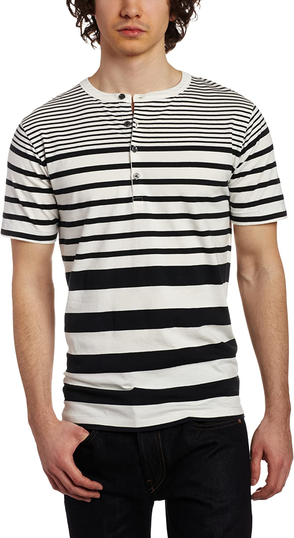 French Connection Men's High Jump Street Short Sleeve Henley Shirt