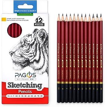 Pagos Sketching Pencils – Professional Graphite Pencil Set for Drawing – 2H, H, F, HB, B, 2B, 3B, 4B, 5B, 6B, 7B, 8B Art Travel Set - Shading Pencils, Drawing and Art Supplies, Sketching Set 12 Pieces