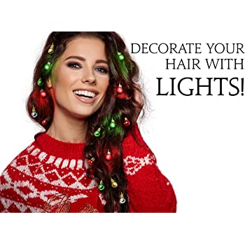 Beardaments Light Up Hair Lights - The Original Ornaments from, 16pc Colorful Christmas Hair Baubles for Holiday Cosplay Women Party Costume