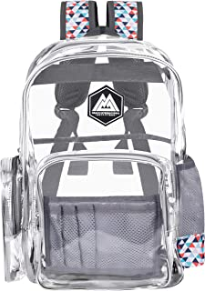 RIO Heavy Duty Clear Backpack - Cool Clear Backpacks - Transparent Backpack - Transparent Bag - Designer Backpack for boys - Clear Backpack for girls (Tikal, Large)