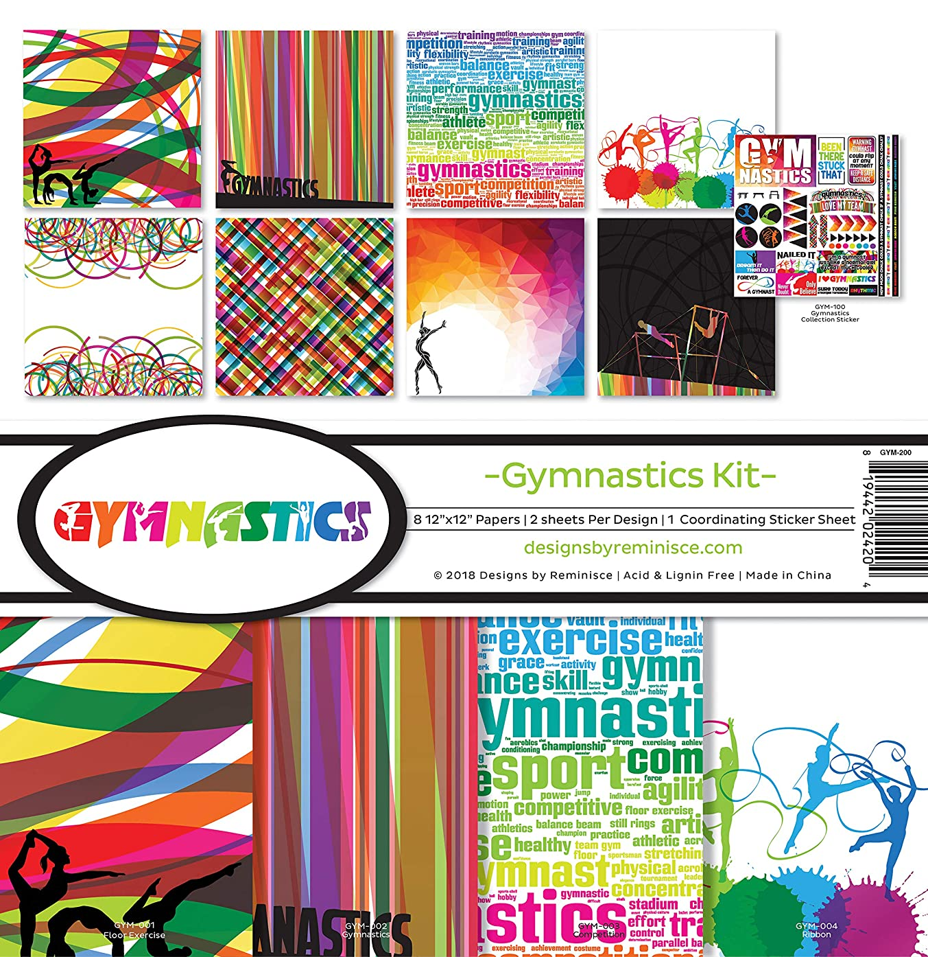 Reminisce (REMBC) GYM-200 Gymnastics Scrapbook Collection Kit, Multi