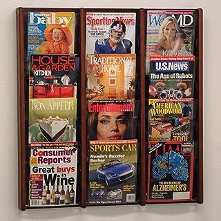 DMD Literature Display, 12 Pocket, Solid Oak and Acrylic Wall Mount Rack, Mahogany Wood Finish