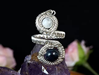 Sterling Silver ring with Dumortierite and Moonstone gift for her gift for mom, wire wrapped, jewellery present for women, ring size 6 US