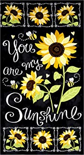 Timeless Treasures Sunshine Sunflower Chalkboard 23.5in Panel Black Fabric