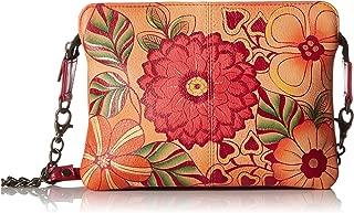 Women's Genuine Leather Shoulder Bag | Hand Painted Original Artwork | Small Zip-Top Organizer