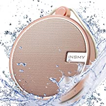 INSMY Portable IPX7 Waterproof Bluetooth Speaker, Wireless Outdoor Speaker Shower Speaker, with HD Sound, Support TF Card, Suction Cup, 12H Playtime, for Kayaking, Boating, Hiking (Cashmere Pink)