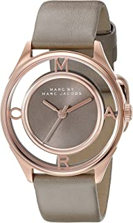 Marc by Marc Jacobs Women's MBM1375 Tether Rose Gold-Tone Watch with Gray Leather Band