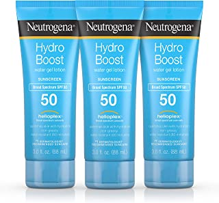 Neutrogena Hydro Boost Moisturizing Water Gel Sunscreen Lotion with Broad Spectrum SPF 50, Water-Resistant & Non-Greasy Hydrating Sunscreen Lotion, Oil-Free, 3 fl. oz (Pack of 3)