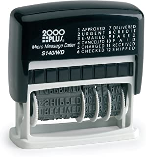 """2000 PLUS 12-in-1 Self-Inking Date and Phrase Stamp, REC'D, ANS'D, ENT'D, PAID, BAL, CHG'D, SHIP'D, RET'D, C.O.D, CANC, FILLED, FILED, 1-3/4"""" x 1/4"""" Impression, Black Ink (011227)"""