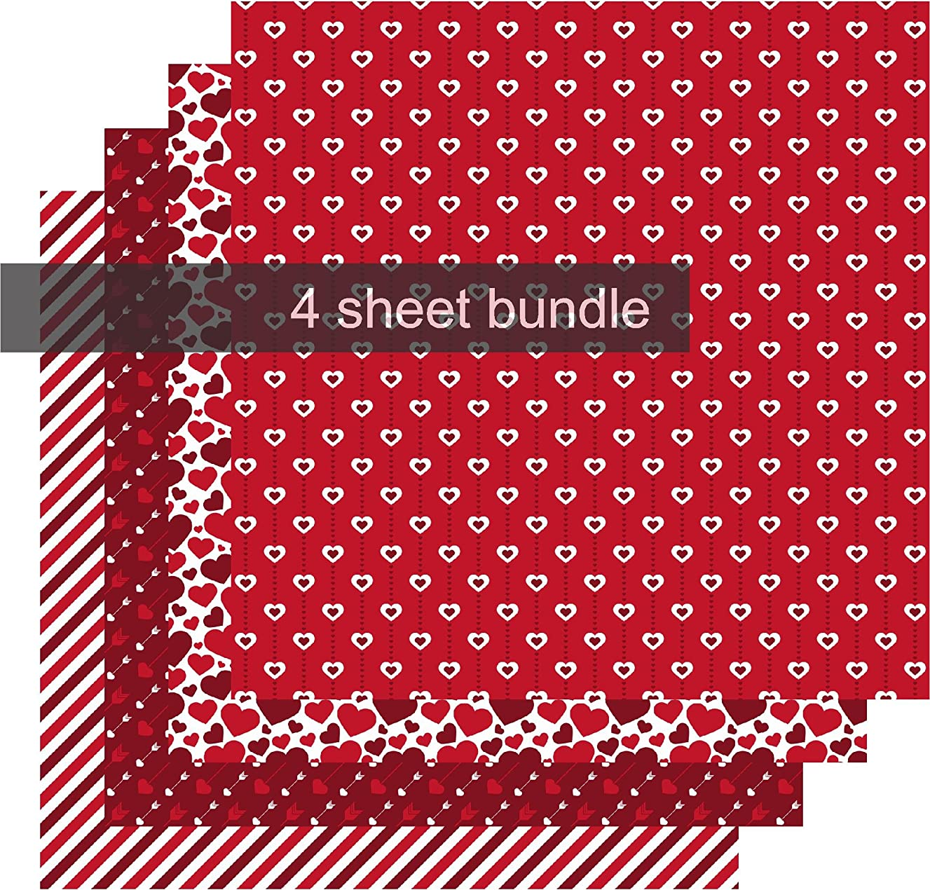 Valentines Day Pattern Permanent Vinyl, Red Patterned Vinyl, Heart Red White Brown, 4-12