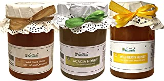 Farm Naturelle-100% Pure Raw Natural Jungle/Forest Honey With Infused Cinnamon, Forest Acacia Honey N Wild Berry Sidr Honey(815 Grams X 3 Pack)-Delicious And Healthy